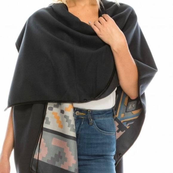 fleece printed poncho